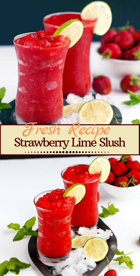 Strawberry Lime Slush  #healthydrink #easyrecipe #cocktail #smoothie