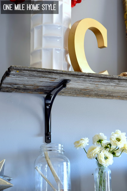 Add fantastic farmhouse style with reclaimed barnwood shelves - One Mile Home Style