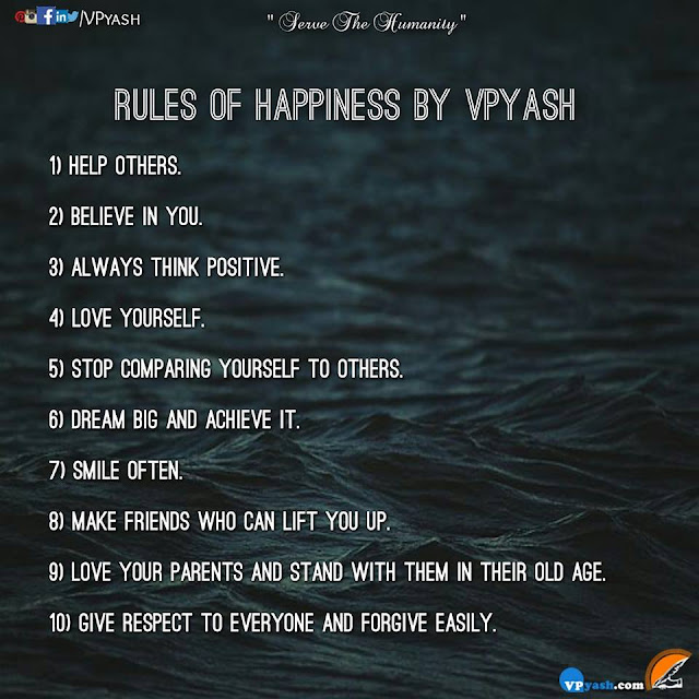 RULES OF HAPPINESS BY VPYASH Life Lessons