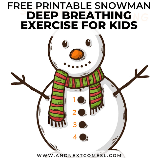 Snowman themed breathing exercise for kids with free printable poster