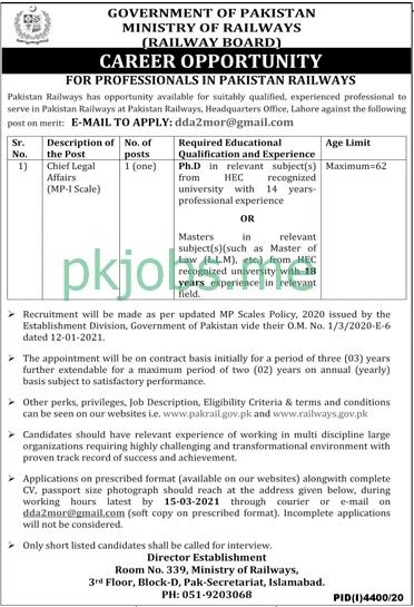 Latest Ministry of Railways Posts 2021 Ad 2