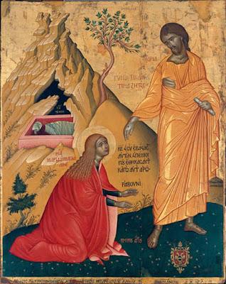 «Μή μου άπτου», Ο Ιησούς ενώπιον της Μαρίας Μαγδαληνής,   εικών Εμμανουήλ Τζάνε, 1657, Μουσείον Αντιβουνιώτισσας, Κέρκυρα