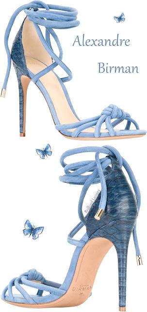 Alexandre Birman blue crocodile lace-up knotted sandal #brilliantluxury