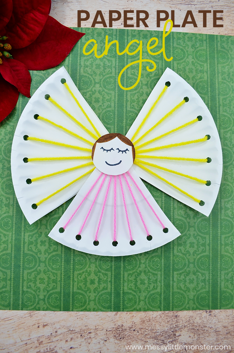 Paper plate angel craft for kids. A fine motor lacing craft for preschoolers. An easy christmas craft that looks adorable!