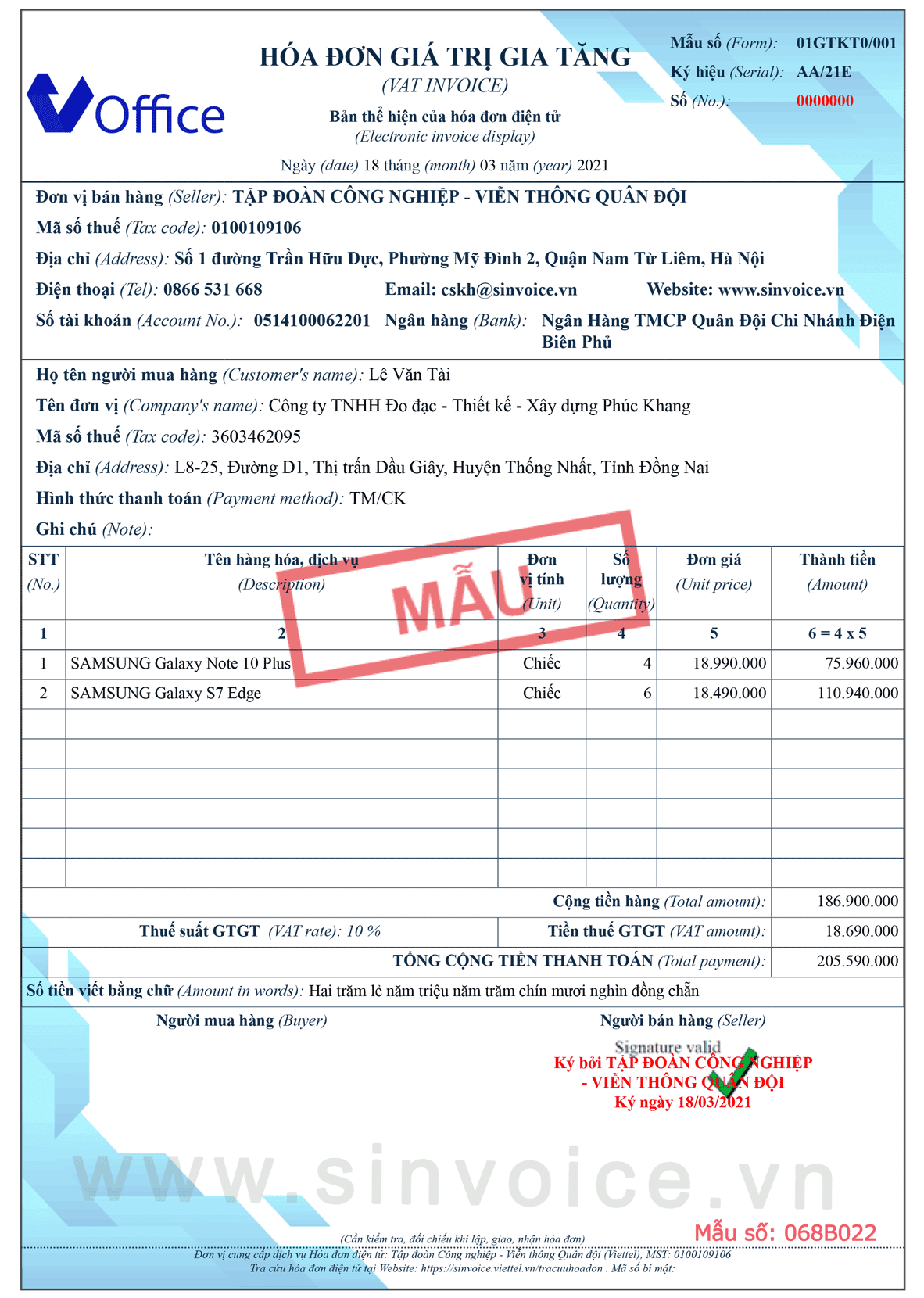 Mẫu hóa đơn điện tử số 068B022