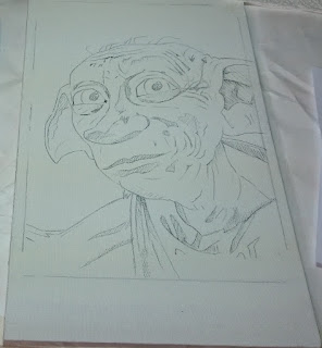 The first stage in producing a painting of Dobby from Harry Potter - Robin Springett