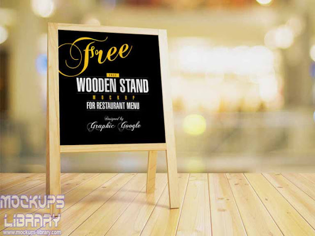 wooden stand chalkboard mockup