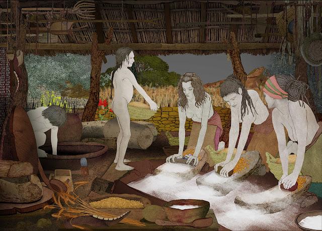 mujeres moliendo, molinos de mano, cobertizo, eneolitico,