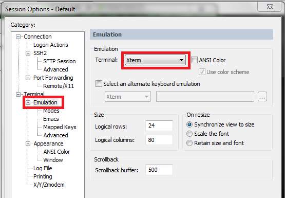 Change ScureCRT default terminal emulation type | Shehan's blog