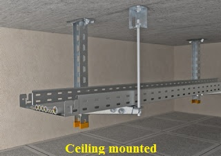 Ceiling mounted cable trays