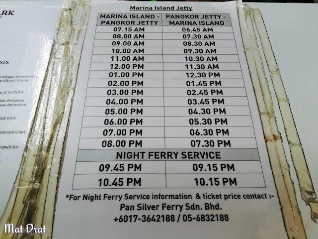Jadual Feri Jeti Marina Lumut ke Pulau Pangkor