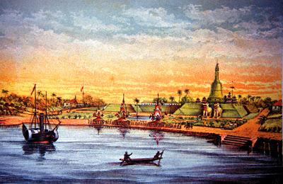 Old Yangon harbor in the 17 th Century