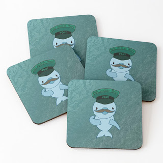 Coasters featuring a dolphin wearing a hat saying Your Oceans Need You