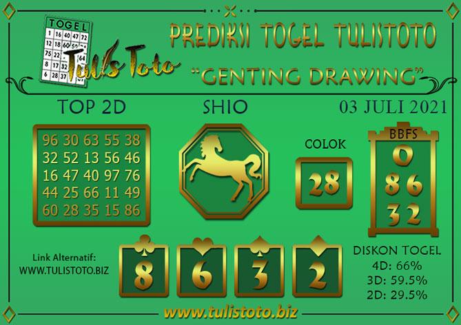 Prediksi Togel GENTING DRAWING TULISTOTO 03 JULI 2021