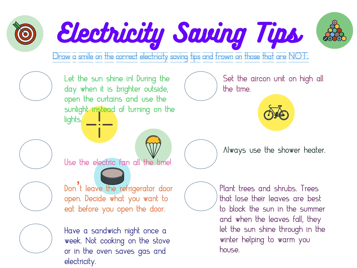Electricity Saving Tips Free Worksheet For Grade 2