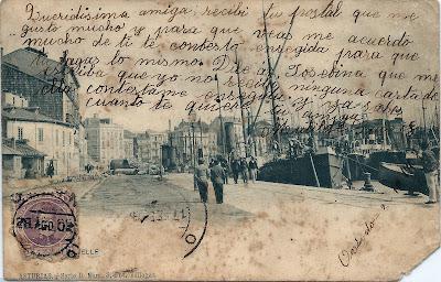 Postal del Puerto de Ribadesella. Foto Villegas.