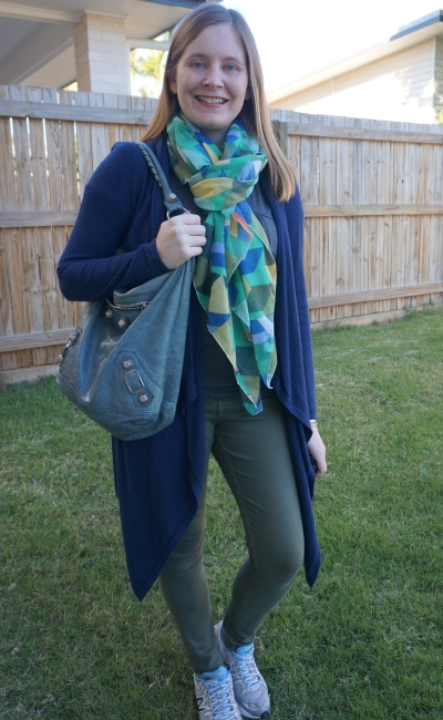 layered navy cardigan green scarf olive skinny jeans outfit with Bal day bag | away from blue