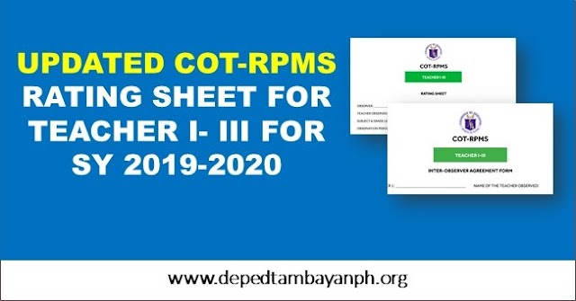 Updated RPMS Rating Sheet for Teacher I-III for SY 2019-2020