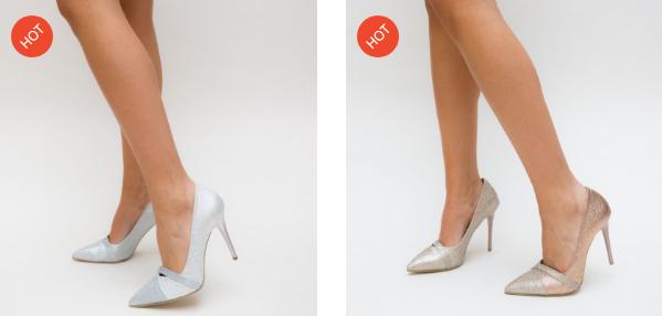 Pantofi eleganti pentru evenimente speciale aurii, argintii cu toc