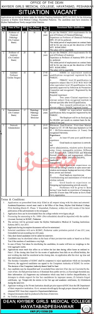 Khyber Girls Medical College Jobs May 2020
