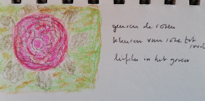Rozengeur haiku en tekening roos