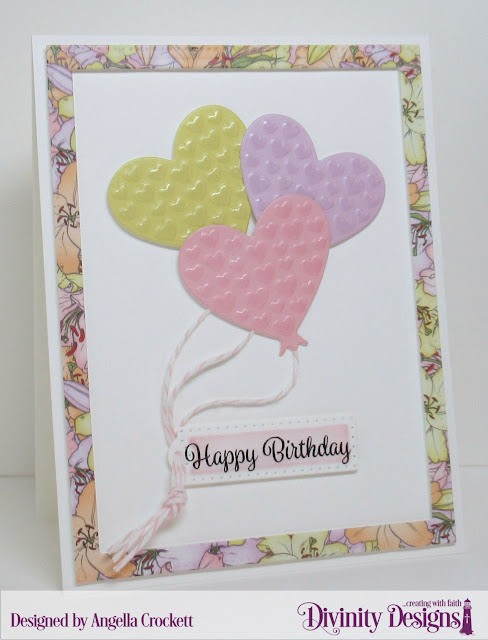 Divinity Designs Treat Tag Sentiments #3, Treat Tags Dies, Birthday Balloons Dies, Pierced Rectangles Dies, Spring Flowers Paper Collection, Card Designer Angie Crockett