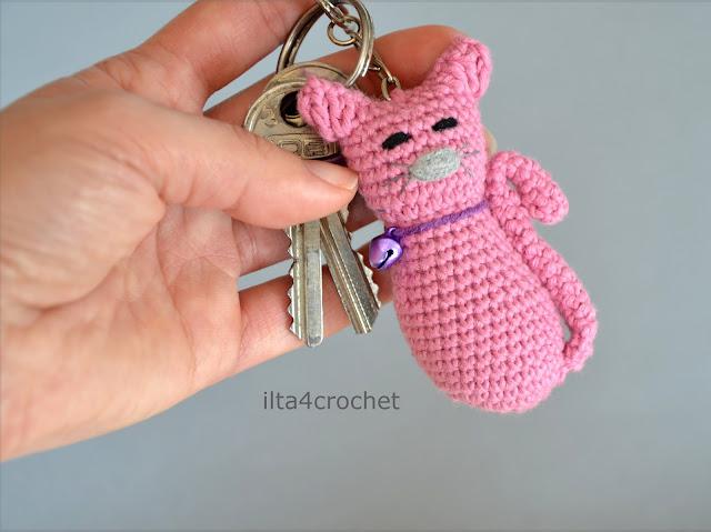 crochet keychain cat, szydełko, kotek, zabawka