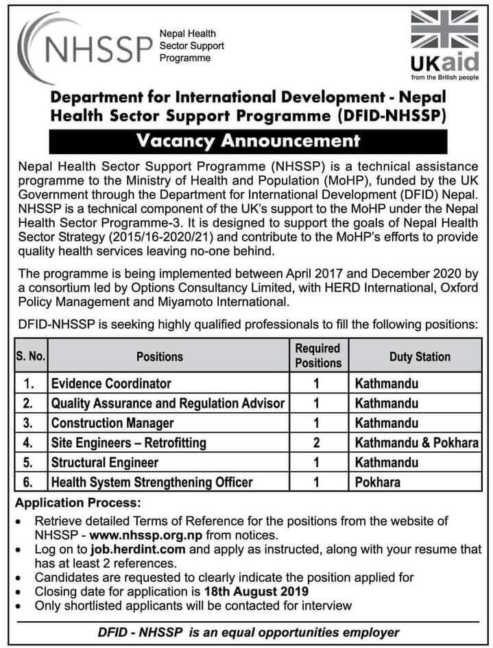 Nepal Health Sector Support Programme Vacancy