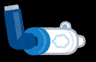 マウスピース型スペーサーのイラスト(吸入器付き)
