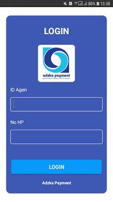 Login aplikasi Jual Pulsa adzka Payment