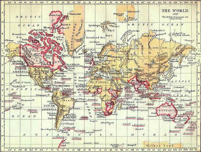 Bản đồ đế quốc Anh năm 1879 (những vùng màu đỏ)