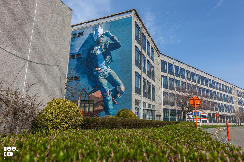 Street artist Matthew Dawn's BLIND mural in Ostend, Belgium.