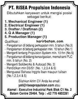 Lowongan Kerja PT. Risea Propulsion Indonesia