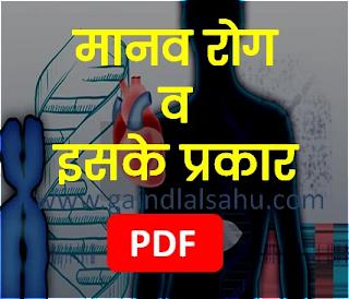 मानव रोग व इसके प्रकार | जीव विज्ञान सामान्य ज्ञान पीडीएफ डाउनलोड | गैंदलाल साहू