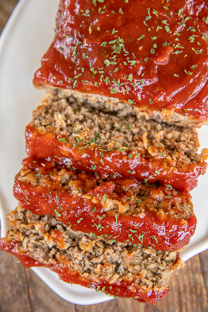 meatloaf sliced on a platter