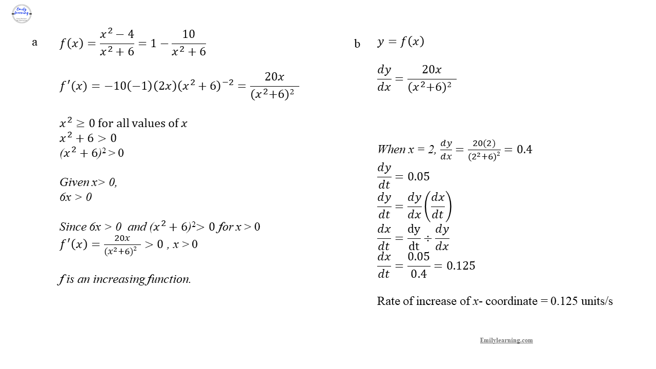 Add Math Specimen Paper 1 Question 4 on differentiation - increasing and decreasing function, rate of chain and chain rule