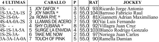 Gran Premio de Potrancas G1 1600m césped. Hipódromo de San Isidro.