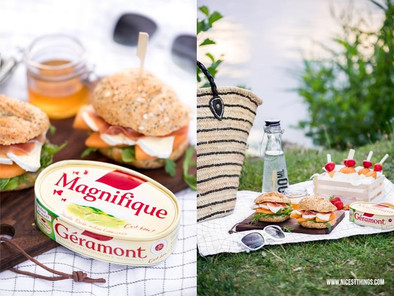 Picknick Rezept schneller Burger mit Géramont, Melone und rohem Schinken
