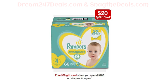 Free $20 gift card when you spend $100 on diapers & wipes
