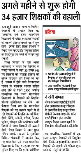 Bihar Teacher Recruitment 2020 Bihar 34000 Upcoming Teacher Vacancy Latest News