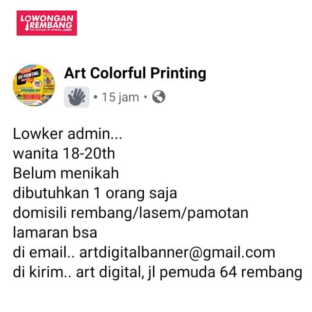 Lowongan Kerja Admin Percetakan Art Digital Colorful Printing Rembang