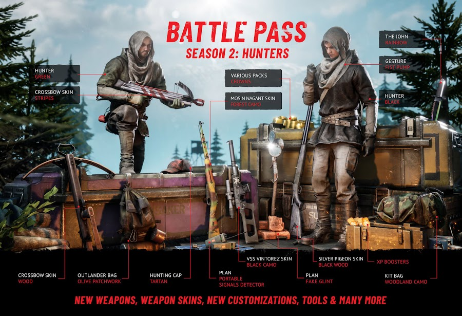 vigor update 2.0 hunters battle pass outlanders february 2020 xbox one bohemia interactive cosmetic weapon items