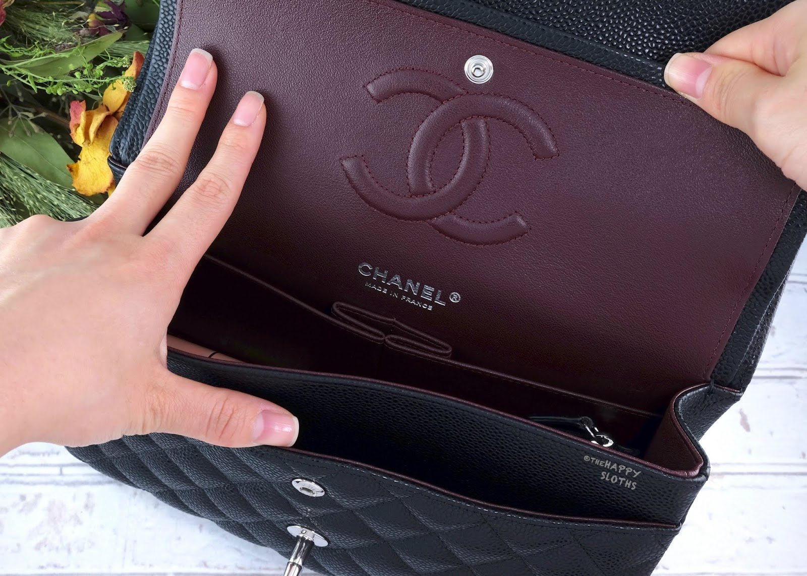 Chanel | Medium Classic Flap Handbag in Black Caviar Leather with Silver Hardware | Inside: Review