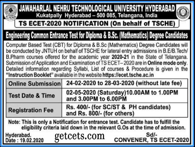 TS ECET notification 2020-2021, apply online, exam date