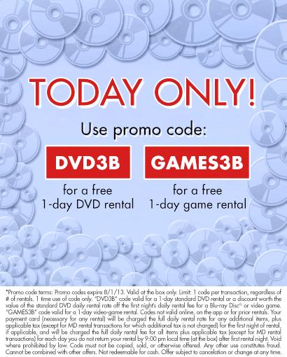 FREE <b>Redbox</b> Rental <b>Codes</b> - FREE 1-Day DVD Rental &amp; FREE 1-Day <b>Game</b> ...