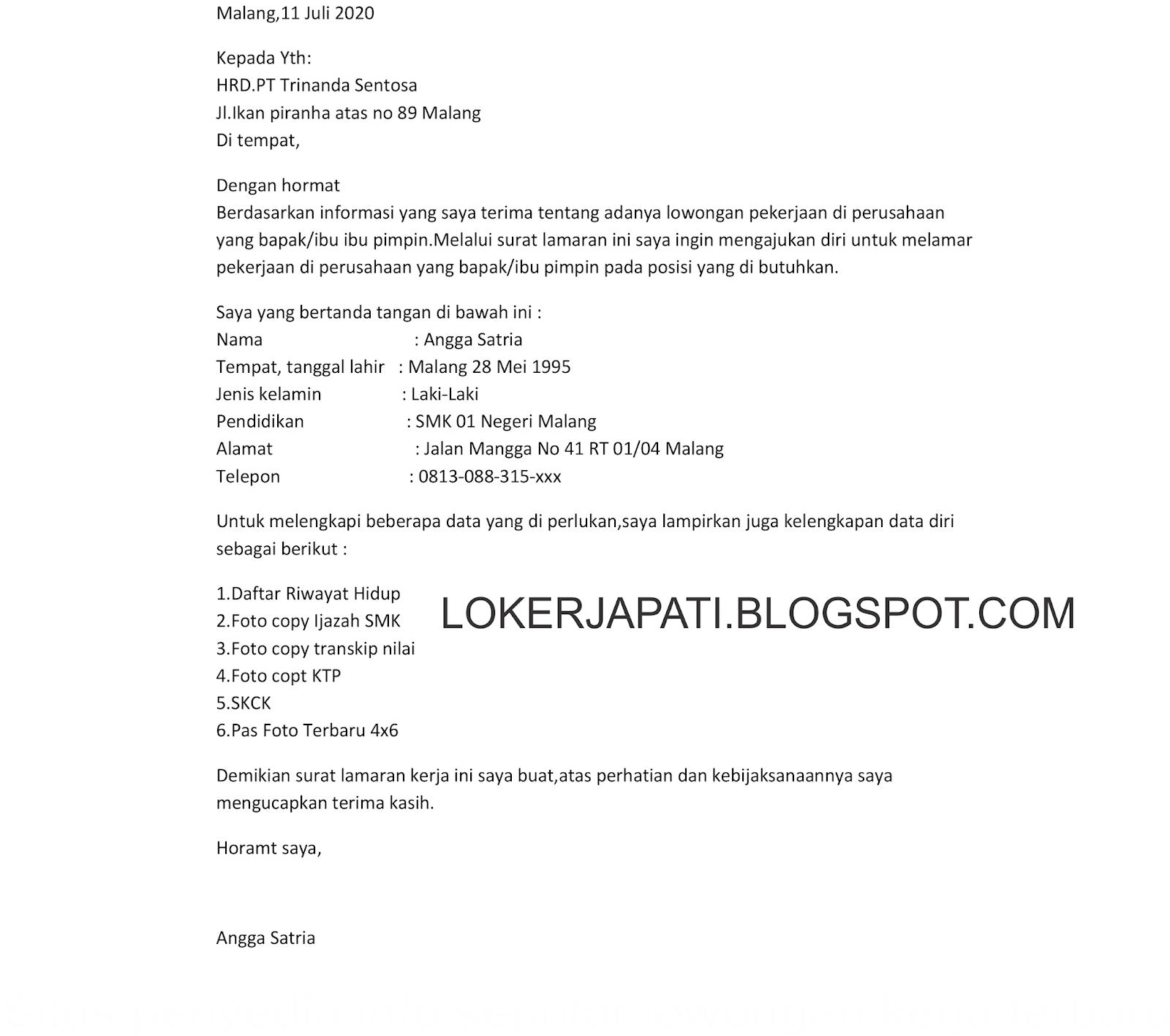 Contoh Surat Lamaran Kerja Di Pt Pwi Jepara Id Lif Co Id