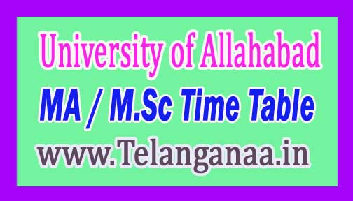 University of Allahabad MA / M.Sc 1st Sem Dec 2016 Exam Time Table