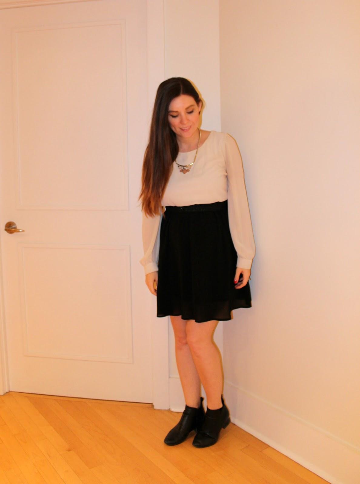 Black and White H&M Chiffon Dress, Maternity, Business Casual