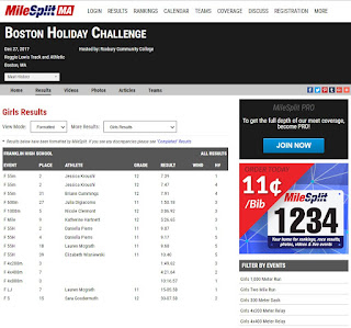FHS girls results for the Boston Holiday Challenge
