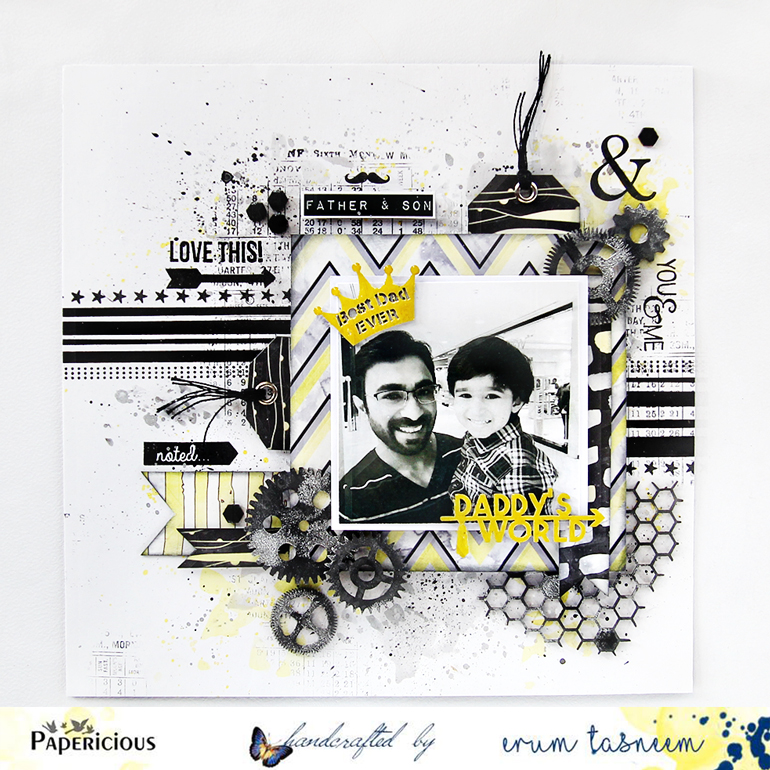 Father and Son layout made using Azealian papers by Papericious - Handmade by Erum Tasneem - @pr0digy0
